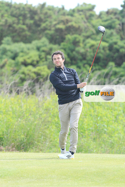 Gerard Dunne (Co. Louth) on the 8th tee during Round 4 of the Irish Amateur Close Championship at Seapoint Golf Club on Monday 9th June 2014.<br /> Picture:  Thos Caffrey / www.golffile.ie