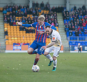 24th March 2018, McDiarmid Park, Perth, Scotland; Scottish Football Challenge Cup Final, Dumbarton versus Inverness Caledonian Thistle; Coll Donaldson of Inverness Caledonian Thistle and Mark Stewart of Dumbarton