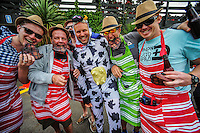 Costumed fans during day one of the 2nd cricket test match between the New Zealand Black Caps and Sri Lanka at the Hawkins Basin Reserve, Wellington, New Zealand on Saturday, 3 February 2015. Photo: Dave Lintott / lintottphoto.co.nz