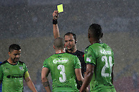 BOGOTA -COLOMBIA, 28-02-2017. Gustavo Gonzalez central referee shows the yellow card to Andres Correa player of La Equidad.Action game between Millonarios and Equidad during match  for the date 6 of the Aguila League I 2017 played at Nemesio Camacho El Campin stadium . Photo:VizzorImage / Felipe Caicedo  / Staff