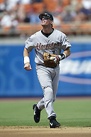 Craig Biggio of the Houston Astros chases a pop up during a 2002 MLB season game against the Los Angeles Dodgers at Dodger Stadium, in Los Angeles, California. (Larry Goren/Four Seam Images)