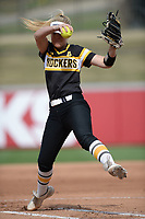 NWA Democrat-Gazette/ANDY SHUPE<br /> Wichita State starter Erin McDonald delivers to the plate Wednesday, April 10, 2019, during the first inning against Arkansas at Bogle Park in Fayetteville. Visit nwadg.com/photos to see more photographs from the game.