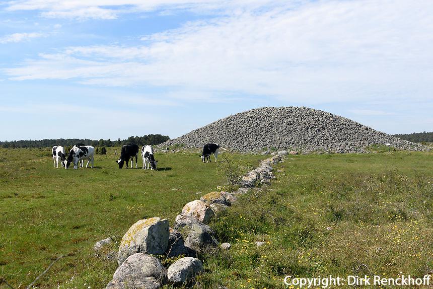 Grabh&uuml;gel Uggarde Roj bei Rone auf der Insel Gotland, Schweden, Europa<br /> burial mound UggardeRoj near Rone, Isle of Gotland, Sweden