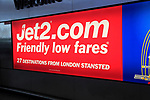 Electric advertising board map for Jet2 flights Stansted airport, Essex, England, UK