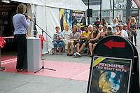 Psychiatrie-Ausstellung der Scientology-Organisation KVPM auf dem Potsdamer Platz in Berlin.<br />Im Bild: Nicola Cramer, Viezepraesidentin der KVPM (Kommission fuer Verstoesse der Psychiatrie gegen Menschenrechte) eroeffnet die Ausstellung.<br />Sitzend 3.vl.: ; Dr. Harsha Gramminger, Praesidentin der European Ayurveda Association.<br />7.8.2013, Berlin<br />Copyright: Christian-Ditsch.de<br />[Inhaltsveraendernde Manipulation des Fotos nur nach ausdruecklicher Genehmigung des Fotografen. Vereinbarungen ueber Abtretung von Persoenlichkeitsrechten/Model Release der abgebildeten Person/Personen liegen nicht vor. NO MODEL RELEASE! Don't publish without copyright Christian-Ditsch.de, Veroeffentlichung nur mit Fotografennennung, sowie gegen Honorar, MwSt. und Beleg. Konto:, I N G - D i B a, IBAN DE58500105175400192269, BIC INGDDEFFXXX, Kontakt: post@christian-ditsch.de<br />Urhebervermerk wird gemaess Paragraph 13 UHG verlangt.]