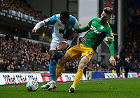 Blackburn Rovers' Ryan Nyambe vies for possession with Preston North End's Paul Gallagher<br /> <br /> Photographer Alex Dodd/CameraSport<br /> <br /> The EFL Sky Bet Championship - Blackburn Rovers v Preston North End - Saturday 11th January 2020 - Ewood Park - Blackburn<br /> <br /> World Copyright © 2020 CameraSport. All rights reserved. 43 Linden Ave. Countesthorpe. Leicester. England. LE8 5PG - Tel: +44 (0) 116 277 4147 - admin@camerasport.com - www.camerasport.com