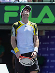 Andy Murray (GBR), defeats David Ferrer (ESP)<  6-2, 4-6, 6-7(1)at the Sony Open being played at Tennis Center at Crandon Park in Miami, Key Biscayne, Florida on March 31, 2013