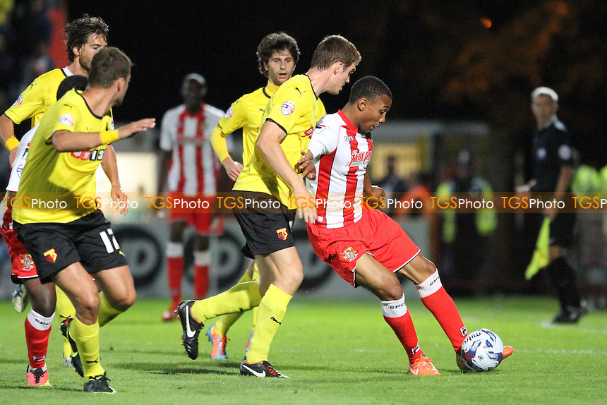 Darius Charles (Stevenage) under pressure - Stevenage vs Watford - Capital One Cup First Round Football at the Lamex Stadium, Broadhall Way, Stevenage, Hertfordshire - 12/08/14 - MANDATORY CREDIT: Mick Kearns/TGSPHOTO - Self billing applies where appropriate - contact@tgsphoto.co.uk - NO UNPAID USE