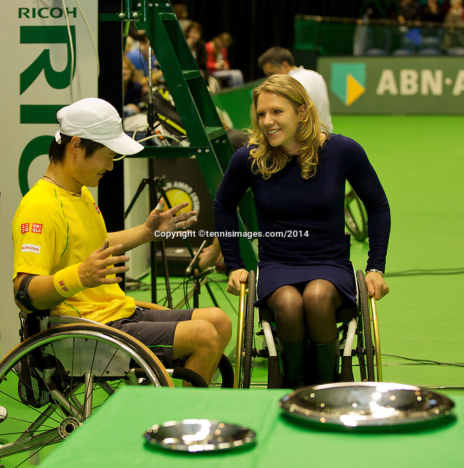 Rotterdam, The Netherlands. 15.02.2014. Shingo Kunieda(JPN) with Esther Vergeer(NED) at the ABN AMRO World Wheelchair tennis Tournament<br /> Photo:Tennisimages/Henk Koster