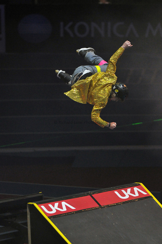 Photo: Tony Oudot/Richard Lane Photography. Aviva Grand Prix. 20/02/2010. .Extreme High Jump. Inline Skater Steve Swain.