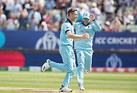 Chris Woakes (England) and Eoin Morgan (England) celebrate the wicket of Peter Handscomb during Australia vs England, ICC World Cup Semi-Final Cricket at Edgbaston Stadium on 11th July 2019