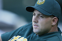 Cory Lidle of the Oakland Athletics before a 2002 MLB season game against the Los Angeles Angels at Angel Stadium, in Anaheim, California. (Larry Goren/Four Seam Images)