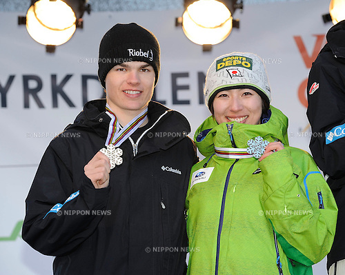(L-R) Mikael Kingsbury (CAN), Miki Ito (JPN),.MARCH 8, 2013 - Moguls :.Men's and womem's silver medalists Mikael Kingsbury of Canada and Miki Ito of Japan pose on the podium with their medals at the dual moguls award ceremony during the FIS Freestyle World Ski Championships in Voss-Myrkdalen, Norway. (Photo by Hiroyuki Sato/AFLO)