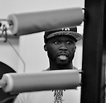DEERFIELD BEACH, FL - JUNE 12: Curtis '50 Cent' Jackson attends Yuriorkis 'The Cyclone of Guantanamo' Gamboa media work out at Iron Mike Productions Gym on June 12, 2014 in Deerfield Beach, Florida.  (Photo by Johnny Louis/jlnphotography.com)