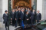 Spanish prime minister Mariano Rajoy, former presidents and several politicians leave the state funeral for former Spanish prime minister Adolfo Suarez at the Almudena Cathedral in Madrid, Spain. March 31, 2014. (ALTERPHOTOS/Victor Blanco)
