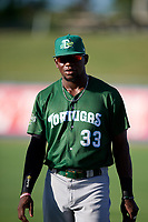 Daytona Tortugas right fielder Michael Beltre (33) before a game against the St. Lucie Mets on August 3, 2018 at First Data Field in Port St. Lucie, Florida.  Daytona defeated St. Lucie 3-2.  (Mike Janes/Four Seam Images)