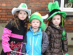 Leah and Tadhg McElearney and Molly Gallagher pictured at the Drogheda St Patrick's day parade. Photo:Colin Bell/pressphotos.ie