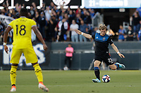 SAN JOSE, CA - AUGUST 03: Florian Jungwirth  during a Major League Soccer (MLS) match between the San Jose Earthquakes and the Columbus Crew on August 03, 2019 at Avaya Stadium in San Jose, California.