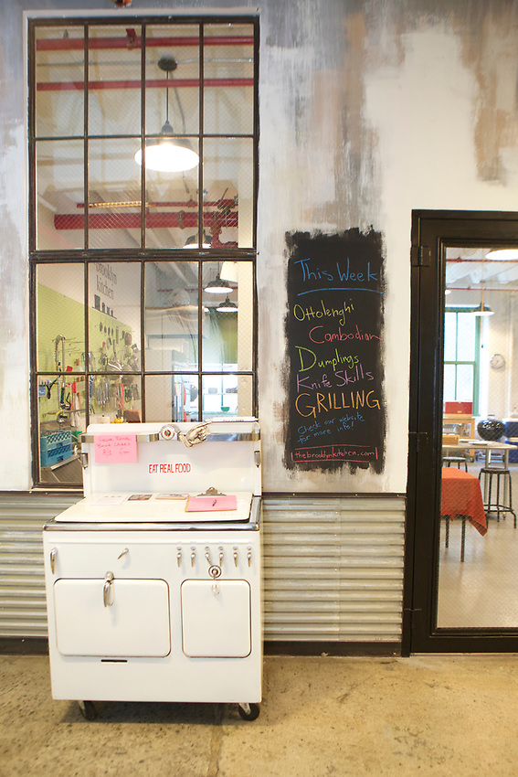 Brooklyn, NY - July 19, 2017: The new Brooklyn Kitchen classroom in Industry City in Sunset Park.<br /><br />Credit: Clay Williams.