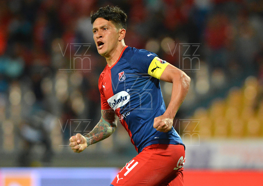 MEDELLÍN - COLOMBIA .21-09-2019:German Cano jugador del Independiente Medellín celebra después de anotar un gol a Millonarios durante partido por la fecha 12 de la Liga Águila II 2019 jugado en el estadio Atanasio Girardot de la ciudad de Medellín. /German Cano player of Independiente Medellin celebrates after scoring a goal agaisnt  of Millonarios during the match for the date 12 of the Liga Aguila II 2019 played at the Atanasio Girardot  Stadium in Medellin  city. Photo: VizzorImage /León Monsalve / Contribuidor.