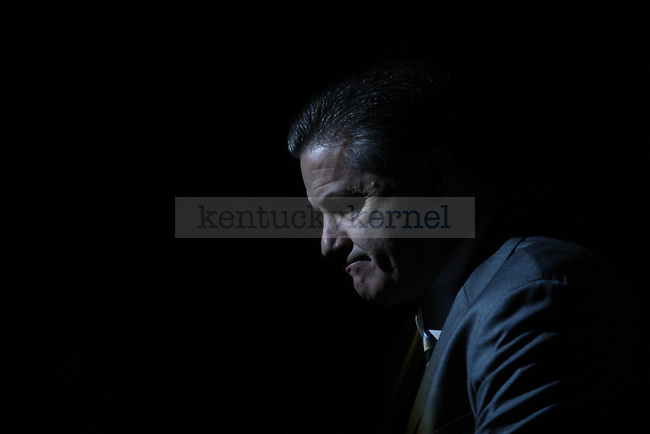 UK head coach John Calipari sits during introductions prior to the first half of the University of Kentucky men's basketball game vs. Boise State at Rupp Arena in Lexington, Ky., on Tuesday, December, 10, 2013. Photo by Jonathan Krueger | Staff