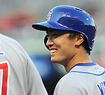 Tsuyoshi Wada (Cubs),<br /> JULY 8, 2014 - MLB : Chicago Cubs starting pitcher Tsuyoshi Wada smiles during the Major League Baseball game against the Cincinnati Reds at Great American Ball Park in Cincinnati, Ohio, USA.<br /> Japanese pitcher Tsuyosh Wada was making his major league debut.<br /> (Photo by AFLO)