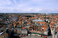 Belgium Market Place in center cafes taken from Belfort 337 steps above center  in the colorful city of Bruges
