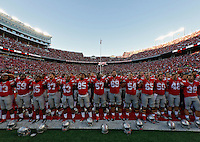 Ohio State Buckeyes sing Carmen Ohio after beating Northern Illinois Huskies 20-13 during their game at Ohio Stadium on September 19, 2015.  (Dispatch photo by Kyle Robertson)