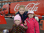 Alanah, Isobel and Sofia Fields who visited the Coca Cola truck at Southgate shopping centre. Photo:Colin Bell/pressphotos.ie