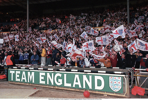 ENGLAND FOOTBALL FANS, England  3 v Portugal 0, 980422. Photo: Chris Brown/Action Plus...1998.soccer.crowd.crowds.supporters.fans.spectators