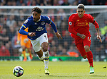 Ashley Williams of Everton in action with Roberto Firmino of Liverpool during the English Premier League match at Anfield Stadium, Liverpool. Picture date: April 1st 2017. Pic credit should read: Simon Bellis/Sportimage