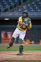 AZL Athletics Gold catcher Jorge Gordon (9) during an Arizona League game against the AZL Giants Black on July 12, 2019 at Hohokam Stadium in Mesa, Arizona. The AZL Giants Black defeated the AZL Athletics Gold 9-7. (Zachary Lucy/Four Seam Images)