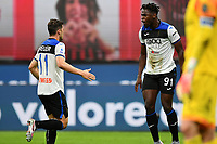 Duvan Zapata of Atalanta BC celebrates after with Remo Freuler after scoring the goal of 1-1 during the Serie A football match between AC Milan and Atalanta BC at stadio Giuseppe Meazza in Milano ( Italy ), July 24th, 2020. Play resumes behind closed doors following the outbreak of the coronavirus disease. <br /> Photo Image Sport / Insidefoto