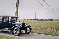 An automobile from the early era of Gent-Wevelgem coming to greet the race<br /> <br /> 81st Gent-Wevelgem in Flanders Fields (1.UWT)<br /> Deinze &gt; Wevelgem (251km)