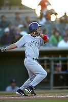 Cameron Coughlin of the Stockton Ports bats during a 2004 season California League game against the High Desert Mavericks at Mavericks Stadium in Adelanto, California. (Larry Goren/Four Seam Images)