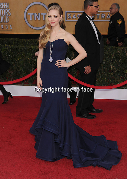 LOS ANGELES, CA - JANUARY 27: Amanda Seyfried (wearing strapless Zac Posen) arrives at the 19th Annual Screen Actors Guild Awards at the Shrine Auditorium on January 27, 2013 in Los Angeles, California...Credit: Mayer/face to face.- No Rights for USA, Canada and France -