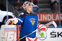 Finnish goalkeeper Harri Sateri during the Ice Hockey World Championship quarter-final match between the US and Finland in the Lanxess Arena in Cologne, Germany, 18 May 2017. Photo: Marius Becker/dpa /MediaPunch ***FOR USA ONLY***