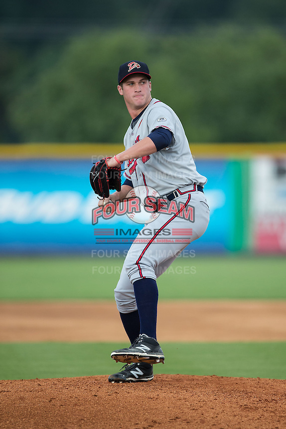Danville Braves relief pitcher Ryan Clark (45) in action against the Burlington Royals at Burlington Athletic Park on July 12, 2015 in Burlington, North Carolina.  The Royals defeated the Braves 9-3. (Brian Westerholt/Four Seam Images)