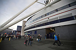 Bolton Wanderers 3 Liverpool 1, 21/01/2012. Reebok Stadium, Premier League. Spectators making their way towards the the home end at the Reebok Stadium, before Bolton Wanderers take on Liverpool in a Barclays Premier League game. The match was won by Bolton by 3 goals to 1, watched by a near-capacity crowd of 26,854. The win lifted Bolton out of the relegation places in England's top division, while Liverpool remained seventh. Photo by Colin McPherson.