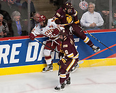 Kyle Osterberg (UMD - 8), Evan Janssen (DU - 26), Willie Raskob (UMD - 15) - The University of Denver Pioneers defeated the University of Minnesota Duluth Bulldogs 3-2 to win the national championship on Saturday, April 8, 2017, at the United Center in Chicago, Illinois.