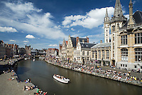 Belgium, Oost Vlaanderen, Ghent: View along Graslei from Saint Michael`s Bridge
