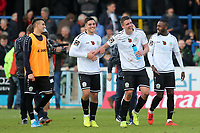 Dover players celebrate their FA Cup victory at the final whistle during Dover Athletic vs Southend United, Emirates FA Cup Football at the Crabble Athletic Ground on 10th November 2019