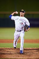 Mesa Solar Sox pitcher Conner Greene (28), of the Toronto Blue Jays organization, during a game against the Peoria Javelinas on October 15, 2016 at Sloan Park in Mesa, Arizona.  Peoria defeated Mesa 12-2.  (Mike Janes/Four Seam Images)