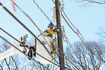 JCP&L Contracted Crews work on restoring power in Mountain Lakes, New Jersey