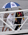 """THE QUEEN.disembarks from the """"Spirit of Chartwell"""" after participating in the Thames Pageant..They were joined by Prince Charles, Camilla, Duchess of Cornwall and Prince Harry for the procession up the Thames to mark the Diamond Jubilee of Queen Elizabeth ll..The Royals braved a toprrential downpour as they watched the flotilla of 1,000 boats file past them alongside the HMS President, Katherine Docks, London_03/06/2012.Mandatory credit photo: ©DIASIMAGES..(Failure to credit will incur a surcharge of 100% of reproduction fees)..                **ALL FEES PAYABLE TO: """"NEWSPIX INTERNATIONAL""""**..IMMEDIATE CONFIRMATION OF USAGE REQUIRED:.DiasImages, 31a Chinnery Hill, Bishop's Stortford, ENGLAND CM23 3PS.Tel:+441279 324672  ; Fax: +441279656877.Mobile:  07775681153.e-mail: info@newspixinternational.co.uk"""