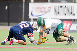 Orange, CA 05/16/15 - Jonathan Quickel (Concordia #7) and Andrew Hein (Dayton #32) in action during the 2015 MCLA Division II Championship game between Dayton and Concordia, at Chapman University in Orange, California.