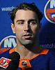Nick Leddy #2 of the New York Islanders speaks with reporters during the organization's Media Day at Northwell Health Ice Center in East Meadow on Thursday, Sept. 13, 2018.