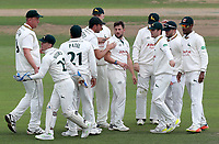 Steven Mullaney of Nottinghamshire (centre) celebrates taking the wicket of Adam Wheater during Nottinghamshire CCC vs Essex CCC, Specsavers County Championship Division 1 Cricket at Trent Bridge on 11th September 2018