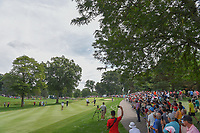 Tiger Woods (USA) hits his approach shot on 1 during 2nd round of the World Golf Championships - Bridgestone Invitational, at the Firestone Country Club, Akron, Ohio. 8/3/2018.<br /> Picture: Golffile | Ken Murray<br /> <br /> <br /> All photo usage must carry mandatory copyright credit (© Golffile | Ken Murray)