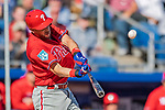 6 March 2019: Philadelphia Phillies infielder Trevor Plouffe at bat during a Spring Training game against the Toronto Blue Jays at Dunedin Stadium in Dunedin, Florida. The Blue Jays defeated the Phillies 9-7 in Grapefruit League play. Mandatory Credit: Ed Wolfstein Photo *** RAW (NEF) Image File Available ***